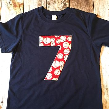 Red baseball Birthday Shirt any number 1 2 3 4 5 6 7 8 9 on heather navy blue  boys top sports fan theme party favor cake invitations balls