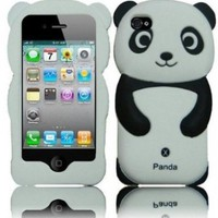 Leegoal Panda Silicone Jelly Skin Case Cover for Apple iPhone 4/4S - Retail Packaging - Black