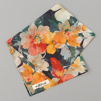 Lightweight Watercolor Floral Print Pocket Square, Navy