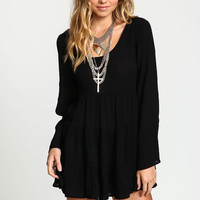 CREPE SCOOPBACK BELL DRESS