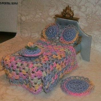 Dollhouse Miniatures 1:12 Scale Crocheted Granny Square Bedspread, 3 Pillows, & Rug  5 Piece Set