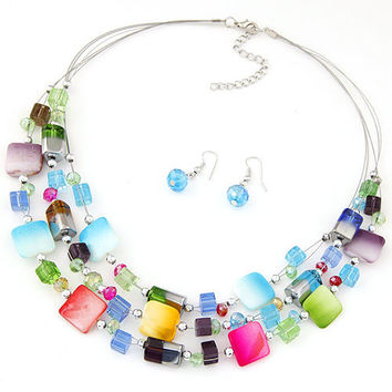 2017 Fashion Jewelry Sets Bohemian Crystal Beads Multi layer Statement Necklace Earrings Set Wedding Parure Bijoux Femme Costume