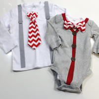 Sibling Valentine's Day Outfits. Coordinating Sibling Set. Valentines Day Picture outfit brothers. chevron red gray cardigan suspenders tie.