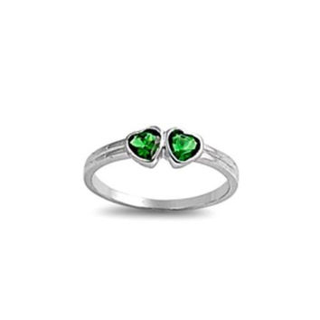 Sterling Silver Emerald Green CZ Twin Heart Ring Size 1 2 3 4 5