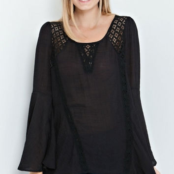 Solid Bell Sleeve Wide Hem Top