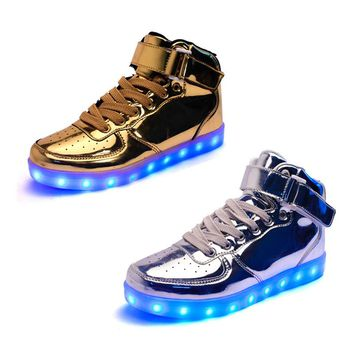 Golden / Silver/ Red/ Black Light Up LED Sneakers - Shoes