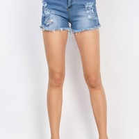 Frayed Denim Pocket Design Shorts