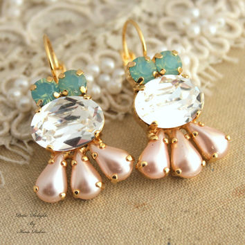 Mint Peach pearl clear ice chandelier Swarovski crystal Rhinestone earrings,bridal earrings- 14k Gold plated plated gold leverback earrings.