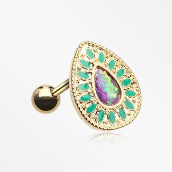 Golden Chakra Opal Cartilage Tragus Earring