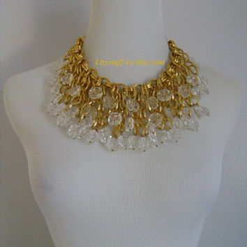 Showstopper Massive Victorian Gold Gilt Chain With Faceted Clear Lucite Dangling Dripping Dramatic Cascading Bib Runway-Worthy Necklace 204g