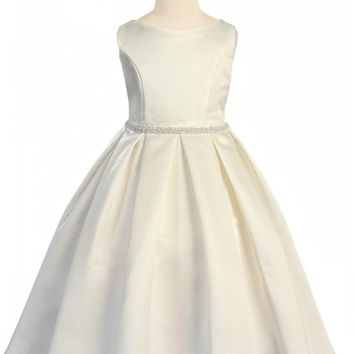Girls Ivory Bridal Satin Formal Dress w. Pleated Skirt & Pearl Trim 2T-14