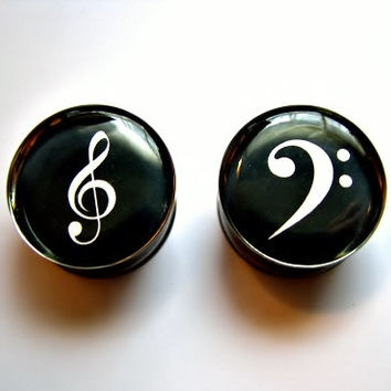 Treble Bass Cleff Plugs- 1 Pair (2 plugs - 12g 10g, 8g, 6g, 4g, 2g, 0g, 00g, 7/16, 1/2, 9/16, 5/8, 3/4, 7/8, 1 inch to 2 in