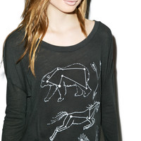 Wildfox Couture Constellations Runaway Long Sleeve Tee Dirty Black