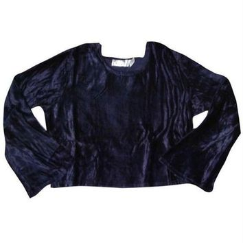 ESBGQ9 Crushed Velvet Flare Blouse