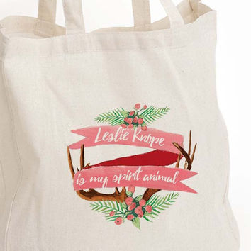 "Leslie Knope eco tote bag ""Leslie is my spirit animal"""