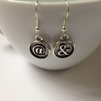 Mix and Match Ampersand and At @ earrings silver