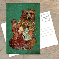 Magic Bearer - Postcard, Bear Card, Animal Stationery, Wildlife Card, Christmas Card, Illustration, Winter Card, Holiday Card, Fairytale