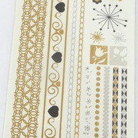 Temporary Metallic Jewelry Gold Silver Flash Tattoos - Variation 9