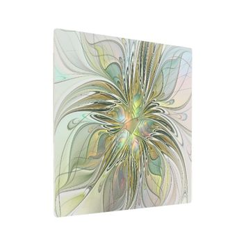 Floral Fantasy Modern Fractal Art Flower With Gold