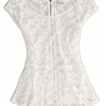 AEO Women's Floral Lace Peplum Top (Chalk)