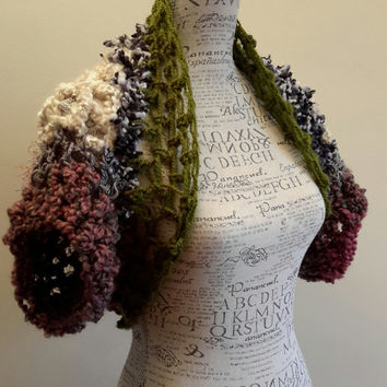 Crochet Hippie Shrug. Made by Bead Gs on ETSY. Size small 5 - 8 average. Hippie bolero