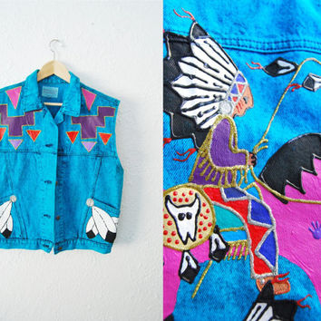 Vintage Acid Wash Blue Native Indian Denim Jean Vest / Kitsch / 80s / Native American