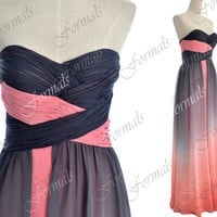 2014 Prom Dresses, Long Prom Gown, Strapless Sweetheart Long Pink and Gray Prom Dresses, Evening Gown, Wedding party Dresses, Formal Gown