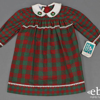 Christmas Dress Toddler Girl's Dress Girl's Vintage Toddler Vintage Children's Vintage Kid's Vintage Christmas Pictures 18 months 18 mos
