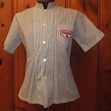 Vintage WWII Era Red Cross Men's Volunteer Uniform Shirt / Rare Find / Excellent Condition / Patch
