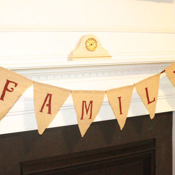 Burplap Family Banner Wall Decor