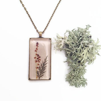Nature inspired necklace with leaf mix over leather - real pressed leaf fern and glass tile over beige leather minimalistic -elegant