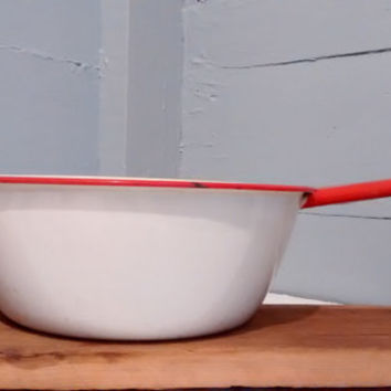 Enamelware, Pot, Kitchen Decor, Red, White, Vintage, Home Decor