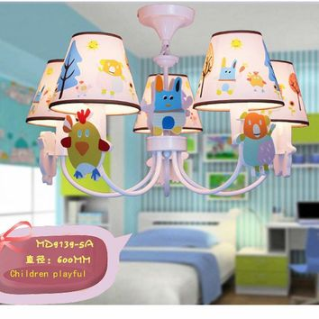 High Quality Cartoon Led Chandelier Led E14 110V-220V Modern Crystal with Shade Modern Lighting Fixture Kids Room Ceiling Lamp