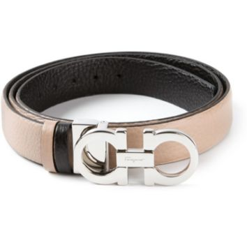SALVATORE FERRAGAMO Women GANCINI 100CM REVERSIBLE ADJUST Belt - BLACK, NUDE NWT