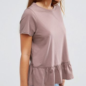 ASOS PETITE Ruffle Hem Wash T-Shirt at asos.com