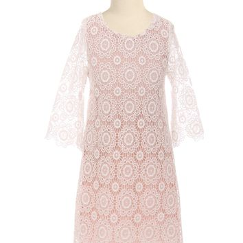 Girls Ivory & Rose Pink Floral Lace Shift Dress with Long Sleeves 2T-10