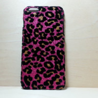 Leopard Felt Glitter Case for iphone 6 Plus (5.5 inches) - Rose Pink