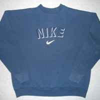 Vintage 90s Nike Swoosh Sweatshirt Dark Blue Hipster Winter Warm Sweater Weather Long Sleeve Just Do It Made In USA XL Extra Large