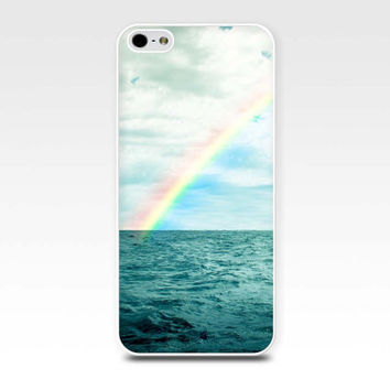 iphone 4 4s 5 case nautical ocean rainbow over water iphone case beach fine art photo case cover cell phone iphone 5 case coastal prints