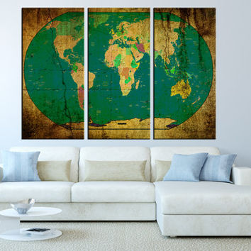 Vintage world map Canvas art print, Large wall Art, old World Map print, extra large world map print, wall decor canvas print t269