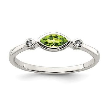 Sterling Silver Bezel Set Marquise Peridot And White Topaz Ring