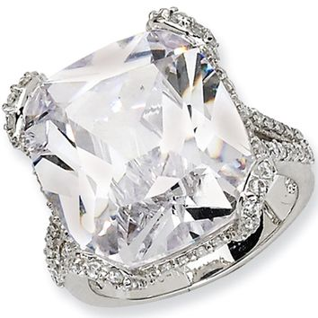Sterling Silver Square Cubic Zirconia Ring by Cheryl M