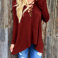 Red Plunge Lace Up Front Long Sleeve Hooded T-shirt