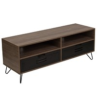 Woodridge Collection TV Stand with Metal Drawers and Black Metal Legs