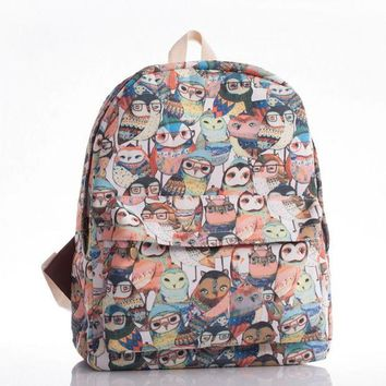 CREYUG3 Korean Cats Canvas England Style Owl Backpack = 4887682692