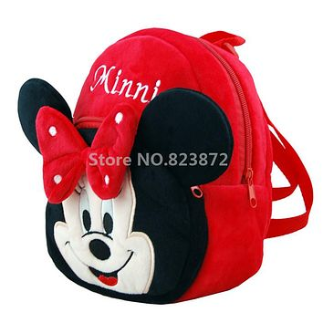 Mochila Minnie Mouse Backpack Baby Girls Plush Bags Red Kawaii Cute Kindergarten Preschool Backpacks School Bags Kids Schoolbag