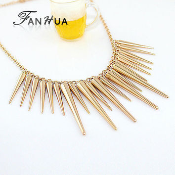 Women's Steampunk Pendant Necklace Gold Silver Color Chain Spike Necklaces & Pendants Jewelry
