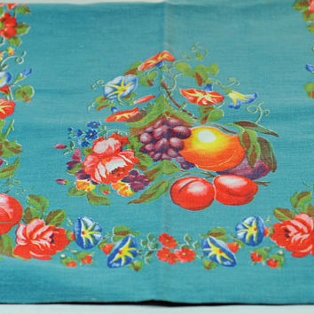 Blue With Fruit -  Vintage KITCHEN TOWEL - Kitchen Towel - 1950s - Collectors' Towel - 100% Cotton Kitchen Towel