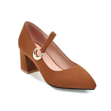 Pointed Toe Mary Janes Chunky Heel Pumps Shoes Woman 1759