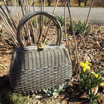 Straw Purse, Silver Handbag, Vintage Wicker Purse, Pearl Gray Bag, Easter Basket Bag